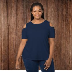 T32PLUS Women's Plus Size Cold Shoulder Tee Thumbnail